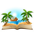 open book with group of pirate on the beach vector image