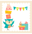 Owl birthday party vector image vector image