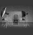 photo studio with armchair and softboxes vector image vector image