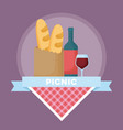 picnic food emblem vector image vector image
