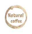 promotion card with lettering natural coffee in vector image