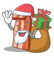 santa with gift bacon mascot cartoon style vector image vector image