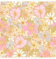 seamless retro style hand drawn floral pattern vector image
