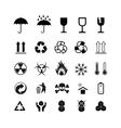 set different black cargo symbols on white vector image