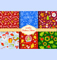 set of 6 seamless new years christmas patterns vector image