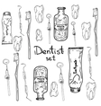Set of Dentist with different dental equipment vector image vector image