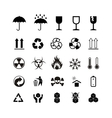Set of different black cargo symbols on white vector image vector image