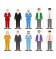 set of old and young business man in flat style vector image