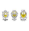 shield logo design set cooking music book vector image