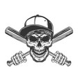 skull in baseball cap and bandana vector image vector image