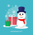 snowman and gift box conceptual design vector image vector image