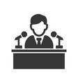 speaker man on tribune icon vector image vector image