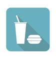 Square fast food icon vector image vector image