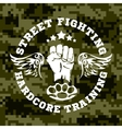 Street fighting emblem with fist and wings on vector image vector image