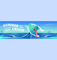 summer cruise banner with surfer girl vector image vector image