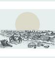 Sun rise on beach hand drawing sea shells