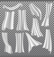 transparent curtains white drapery 3d vector image vector image
