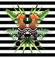 tropical bird mirror background vector image vector image