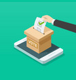 voting box online on mobile phone vector image vector image