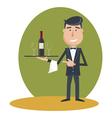 waiter wine vector image vector image