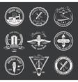 white barber emblem set vector image vector image