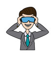 young business man wearing vr headset vector image