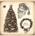 christmas hand drawn set vector image