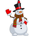 cute snowman with a bird vector image