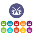 drum and drumsticks set icons vector image