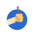 hand holding hairdressing comb symbol of the vector image