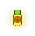 Bottle with buds of marijuana icon comics style vector image