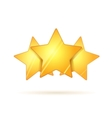 Three glossy golden rating stars with shadow on vector image