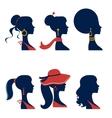 Beautiful elegant women silhouettes set vector image vector image
