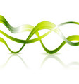 bright glossy green waves on white background vector image vector image
