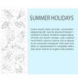 card with summer holiday line icons vector image vector image