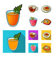 carrot juice in a glass chamomile tea in a cup vector image vector image