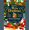 christmas festive poster with winter holidays gift vector image vector image