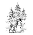 christmas funny scene winter landscape this vector image vector image