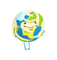cute happy cartoon earth planet character smiling vector image