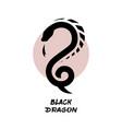 dragon logo against background sun vector image vector image