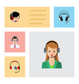 flat icon call set of earphone help operator and vector image vector image