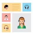 flat icon call set of earphone help operator and vector image vector image