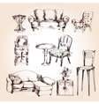 Furniture sketch set vector image