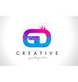 gd g d letter logo with shattered broken blue vector image vector image