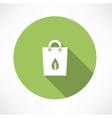 Green bag with paper leaf vector image