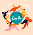 group women is dancing around earth globe vector image vector image