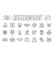 halloween icon set isolated linear vector image