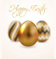 happy easter greeting card golden eggs set with vector image vector image
