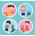 happy kids cartoon vector image vector image