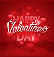 happy valentines day script text on red background vector image vector image